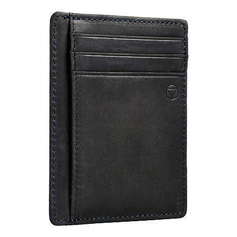 gran venta 586ee 3935f Voctom Billetera RFID, Tarjeta de Crédito Slim, Cuero Legítimo (Azul oscuro)