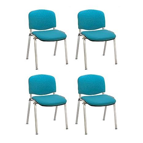 Centrosilla Silla confidente ISO apilables con Acolchado Especial Ideal para Salas reuniones, conferencias tapizada Patas Acero cromadas (Pack 4 ...