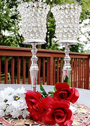 Glass Crystal Votive Silver Finish Handcrafted Hurricane Candle Holder 15 inches, Set of 2