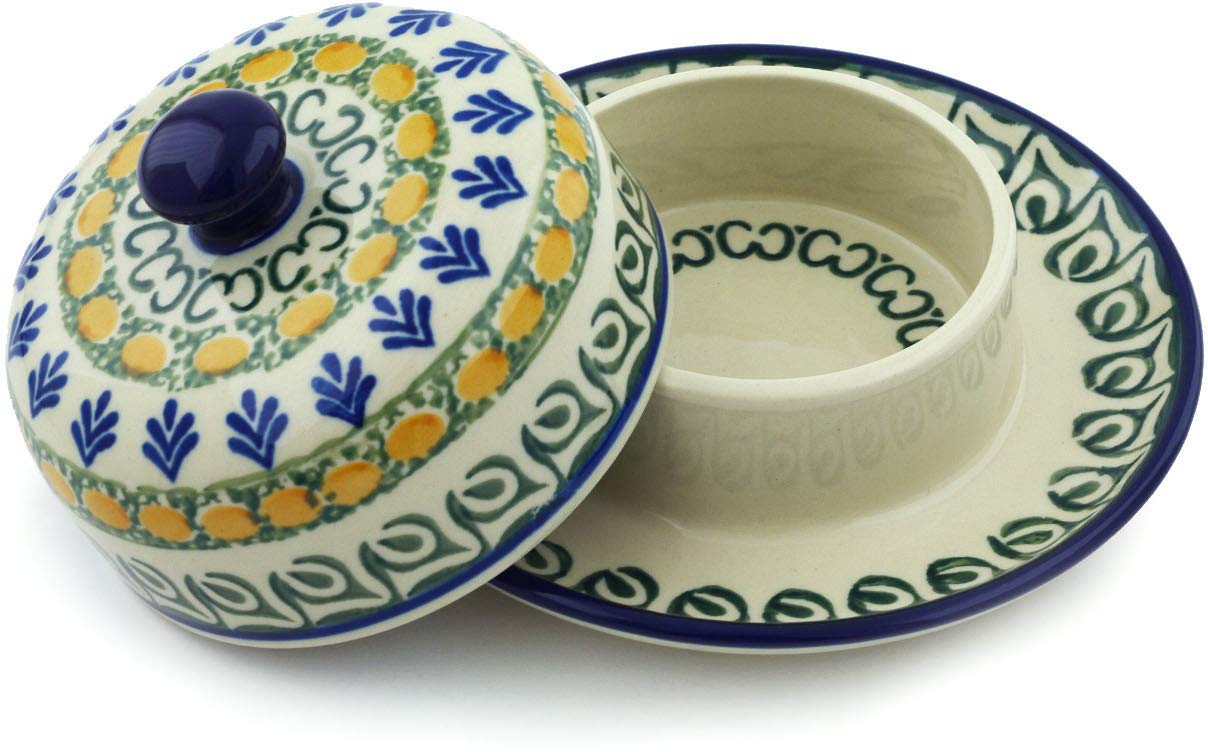 Polish Pottery 5¾-inch Dish with Cover made by Ceramika Artystyczna (Autumn Weatfields Theme) + Certificate of Authenticity by Polmedia Polish Pottery (Image #3)