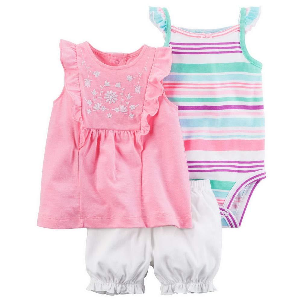 ARAUS Baby Body M/ädche Kleidung 3er Set Strampler Shirt Shorts Sommer f/ür 3-24 Monate