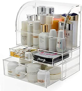 Formatex Anti-Dust Makeup Organizer Box with 3 Layers and Closable Lid