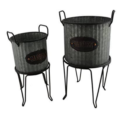 Metal Planters Rustic Round Galvanized Ribbed Metal 2 Piece Garden Planter  And Stand Set 10 X