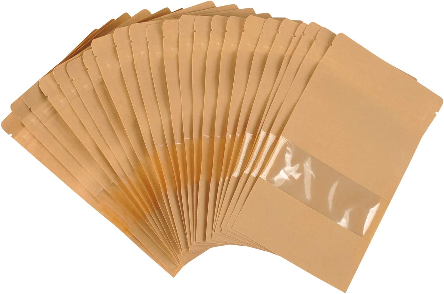 100-pack Paper resealable Bags Smell Proof Packaging Sample Bags for Food Tea Storage |Flat|(5.51''x7.87'')