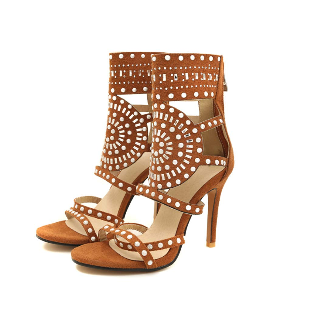 Orangeskycn Women High Heel Sandals Plus Size Fashion Rivet Back Zipper High Heel Open Toe Ankle Beach Shoes Sandals Brown by Orangeskycn Women Sandals (Image #6)