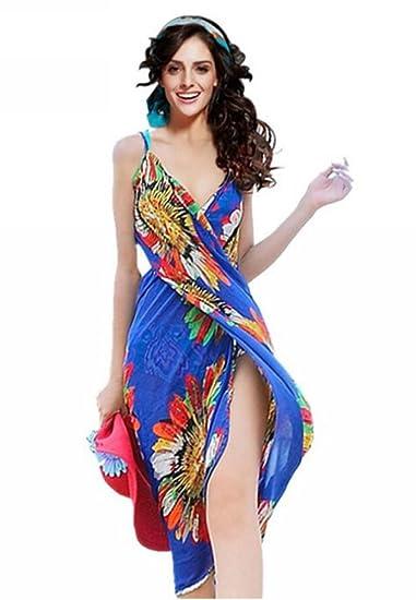 44671bbc39300 Uget Women's Floral Chiffon Wrap Beach Dress Bikini Swimwear Cover-up-Blue  One Size at Amazon Women's Clothing store: