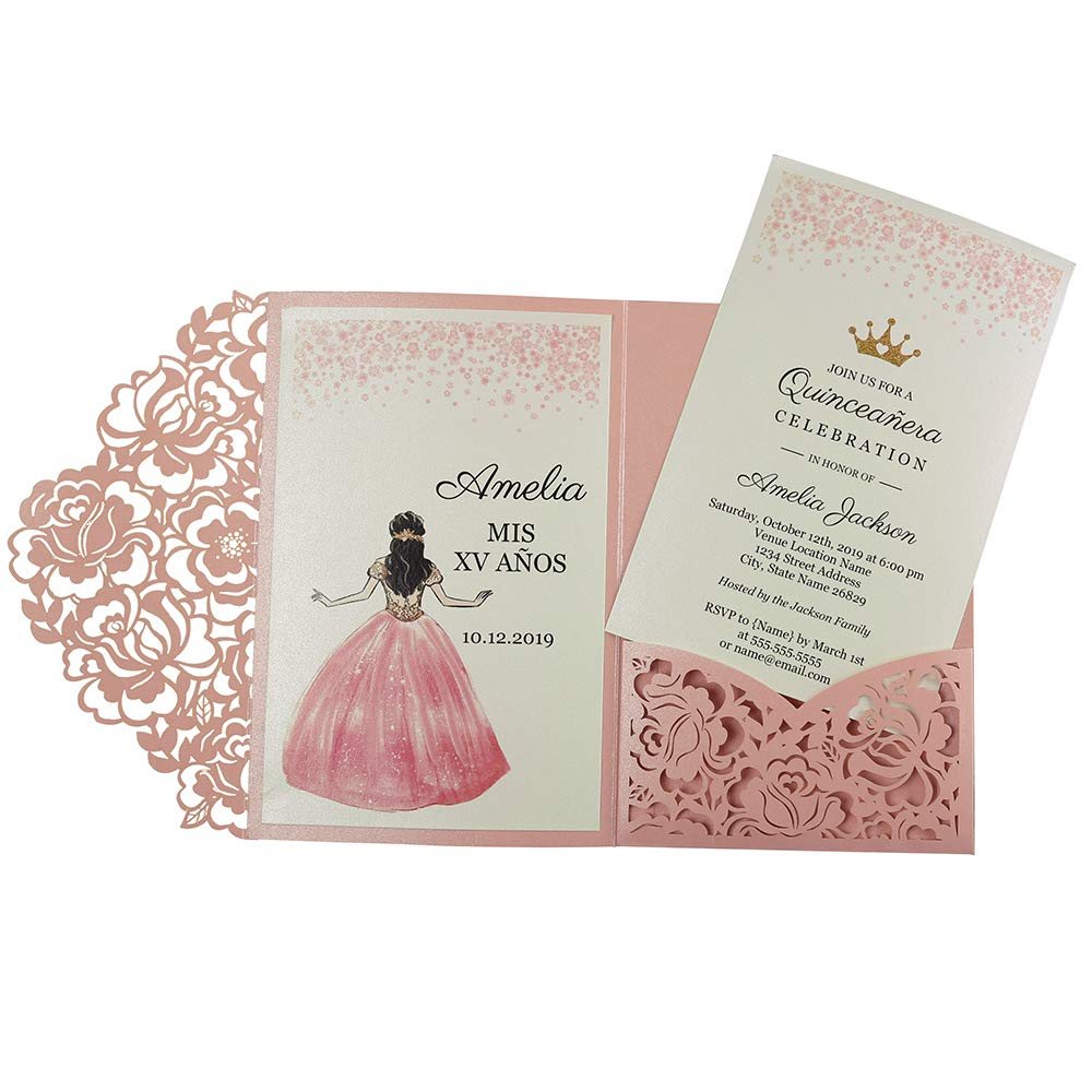 Doris Home wedding invitations with envelopes for Bridal Shower Invitations,Quinceañera Dinner Invitations,(Pink, 50pcs Customized Printed)