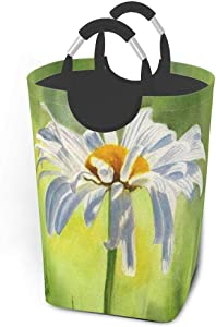 EJudge Laundry Basket White Daisy Watercolor Painting Large Collapsible Dirty Laundry Hamper Bag Tall Fabric Storage Baskets Rectangle Fold Washing Bin Hand Clothes Organizer for Kids,Dorm 50L