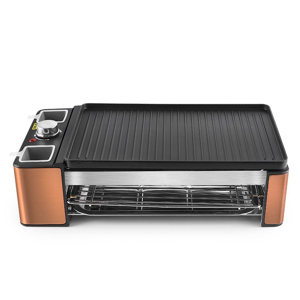 QIANDING SKJ Barbecue Machine Smokeless Household Double Barbecue Grill Plate Skewer Grilled Iron Plate Barbecue Meat 42×12cm-55×12cm Barbecue (Size : S) by QIANDING