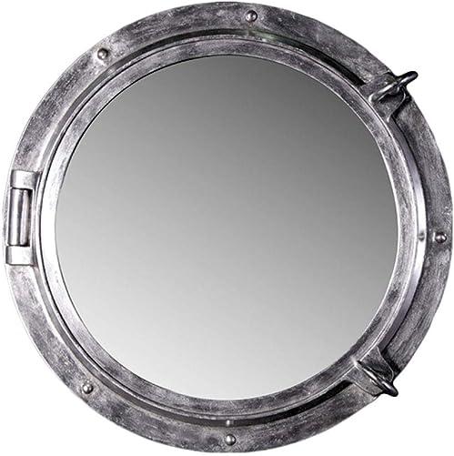 Nautical Tropical Imports Porthole Mirror 24 Inch Silver Leaf Finish Wall Mount