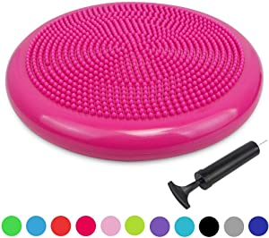 Sporthomer Inflated Wobble Cushion with Pump, Extra Thick Fitness Core Exercise Balance Board, Sensory Stability Wiggle Seat, Training Physical Therapy for Classroom, Office Chair, Home, Gym, Kids