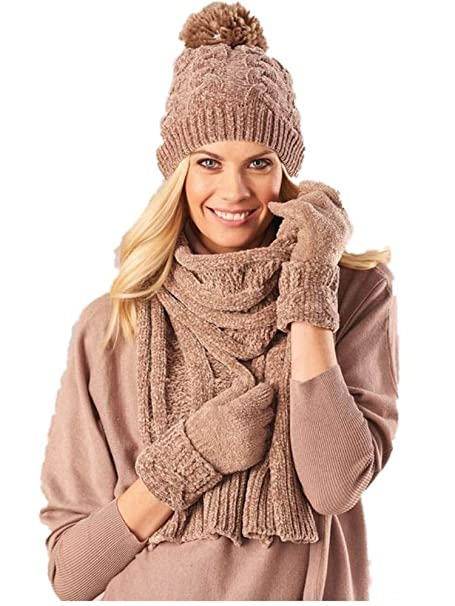 08b0d1a5540aa Image Unavailable. Image not available for. Color  Chenille Taupe Scarf  Gloves Hat Set