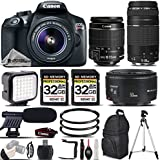 Canon EOS Rebel T6 DSLR Camera + Canon EF-S 18-55mm IS II Lens + Canon EF 75-300mm III AF Telephoto Lens + Canon EF 50mm f 1.8 II Lens - All Original Accessories Included - International Version