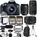 Canon EOS Rebel T6 DSLR Camera + Canon EF-S 18-55mm IS II Lens + Canon EF 75-300mm III AF Telephoto Lens + Canon EF 50mm f 1.8 II Lens – All Original Accessories Included – International Version For Sale