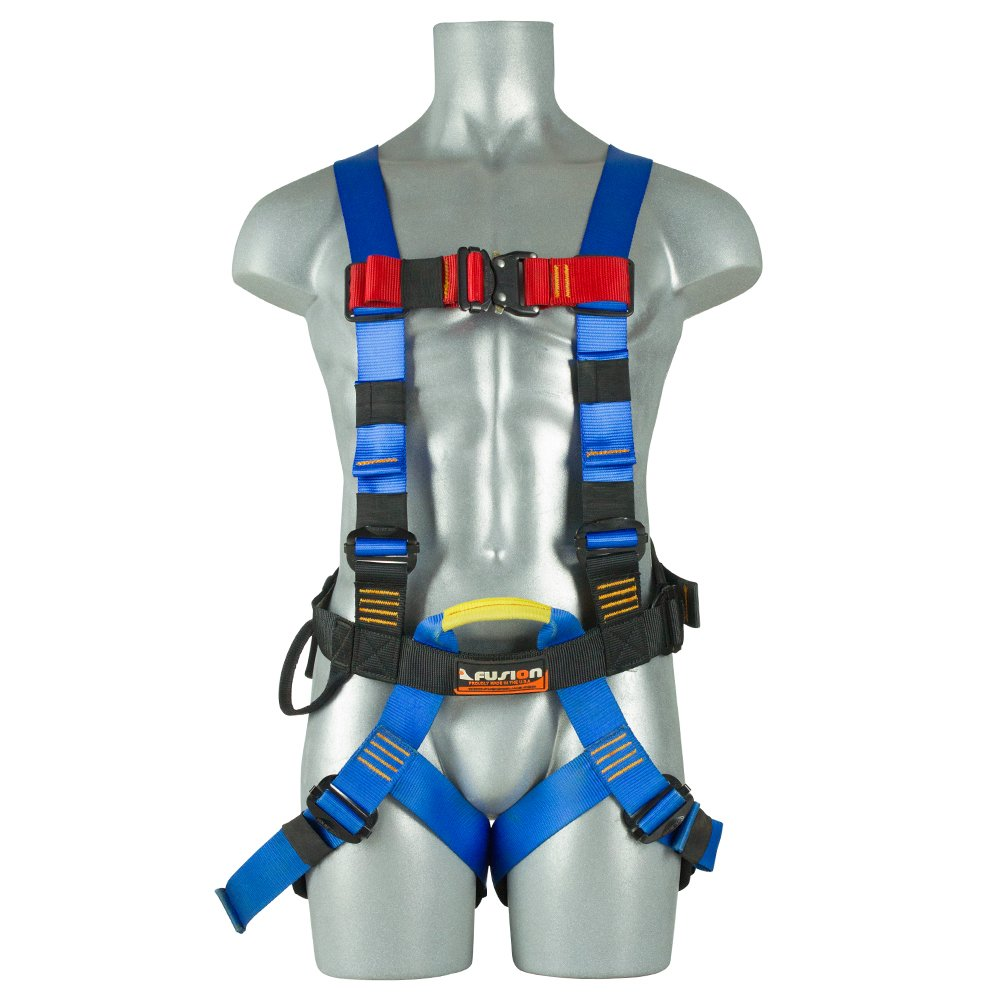 Fusion Climb TCH-107-2FB-S Full Body Climbing Harness One Size Blue Black