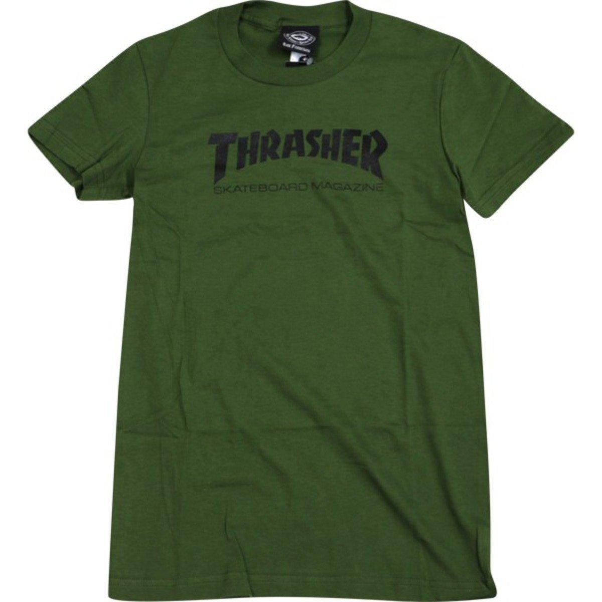Thrasher Skate Mag Logo Girls T-Shirt [Small] Army by Thrasher Magazine