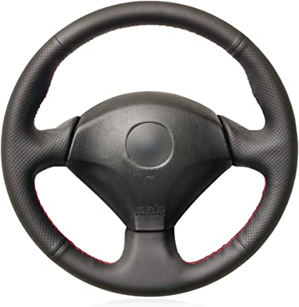 BLACK LEATHER Steering Wheel Cover 100/% Leather fits HONDA