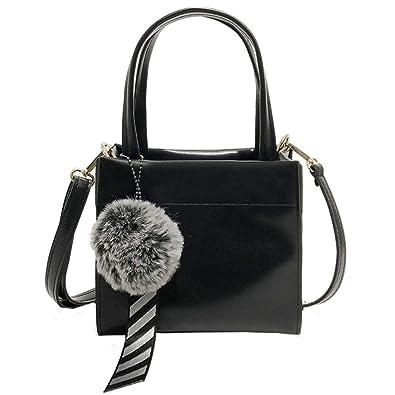 1bf4b7b27d2e KIMODO Backpack Leather Hairball Handbag Shoulder Bag Women Fashion Casual Tote  Bag (Black)