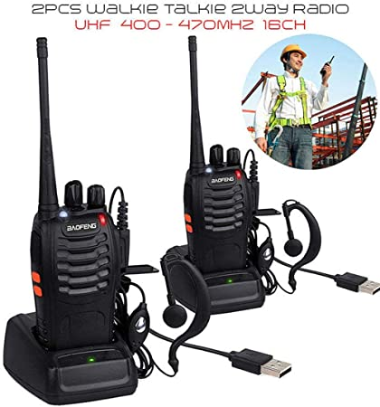 BaoFeng BF-888S USB Rechargeable Walkie Talkies Long Range UHF 400-470MHz 16 Channels Two Way Radios CTCSS DCS with Earpiece – 2 Pack