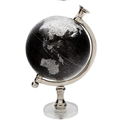 Molded Globe On Round Acrylic Bases 5 Inch Diameter 9 Inches Tall (Black): Office Products