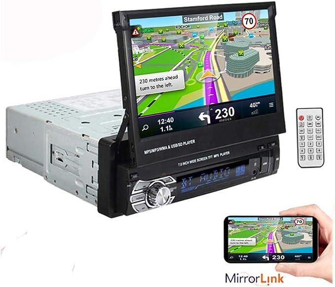 1 DIN 7 Pulgadas 1080P Reproductor de Radio estéreo para automóvil Soporte de Pantalla táctil LCD Función de Enlace de Espejo Manos Libres Bluetooth: Amazon.es: Coche y moto