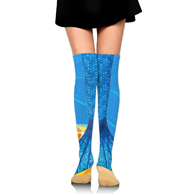 bc6d61ee623 HAIRUIYD Knee High Socks Mermaid Fish Scale Women s Work Stance Athletic Over  Thigh High Stockings at Amazon Women s Clothing store