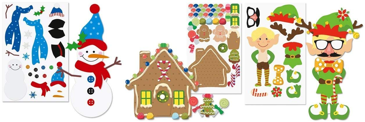 happy deals ~ 36 pc Christmas Sticker Sheets Decorate Your Own Snowman Make a Gingerbread House and Dress an Elf Bulk Class Pack