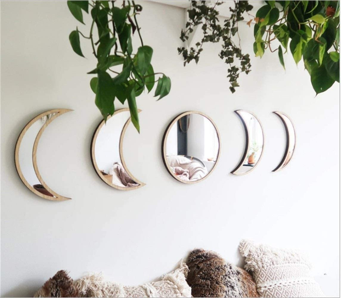 Sixi Scandinavian Natural Decor Acrylic Moon Phase Mirrors Decorative Interior Design Wooden Moon Phase Mirror Bohemia Wall Ornament Bedroom Living Room Decoration Self-Adhesive (Color: Begie)