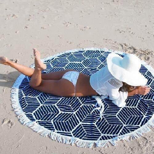 (DJSMstj Popular INS net red Tassel, Round Beach Cushion, Beaches Outside Bikini, Scarf Shawl Seaside Holiday (Color : Tassel Blue and White Porcelain))