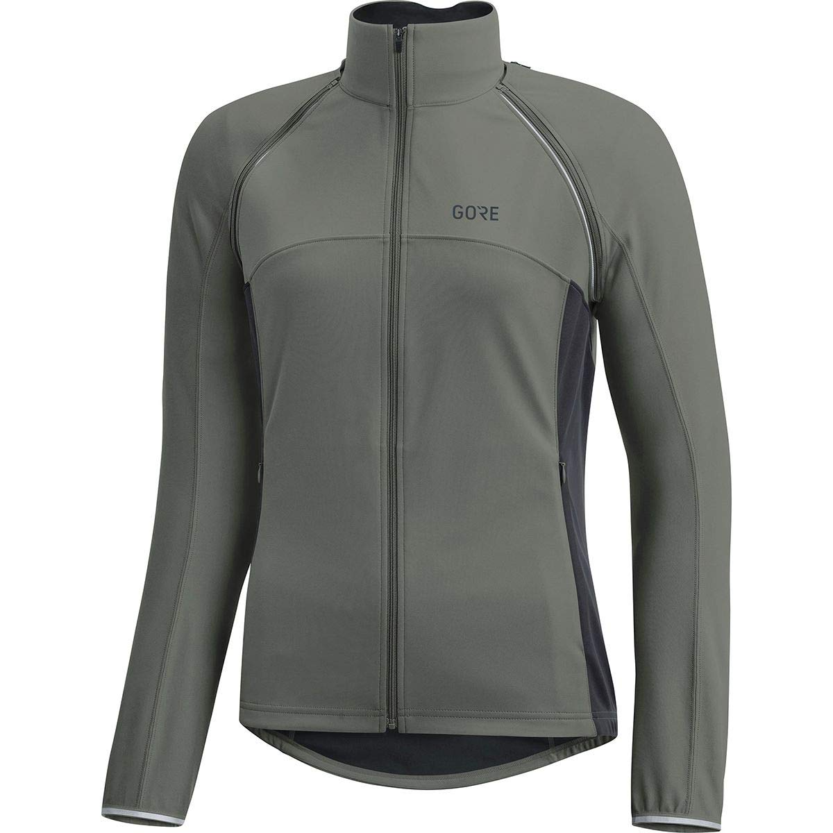 GORE Wear Women's Windproof Cycling Jacket, Removable Sleeves, GORE Wear C3 Women's GORE Wear WINDSTOPPER Phantom Zip-Off Jacket, Size: XS, Color: Castor Gray/Terra Gray, 100191 by GORE WEAR (Image #1)