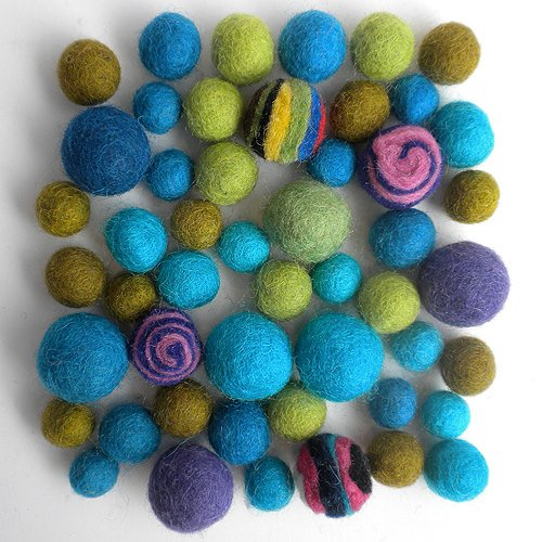 Wool Felt Pom Poms- 50 Cool Tones