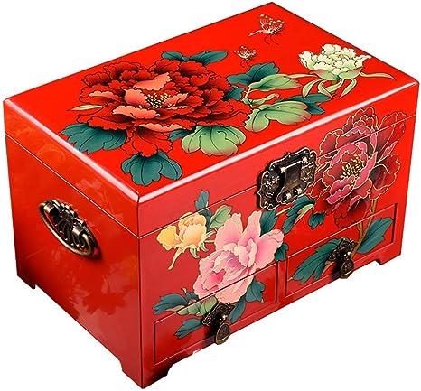 Caja de Almacenamiento China, artesanías, Caja de Almacenamiento de Joyas, Caja de vestidor, Laca peonía Flor Pintada Laca Artesanal joyero: Amazon.es: Deportes y aire libre