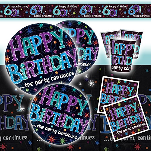 Deluxe Adult Black Shimmer 60th Birthday Party Pack Decoration Kit For 16]()