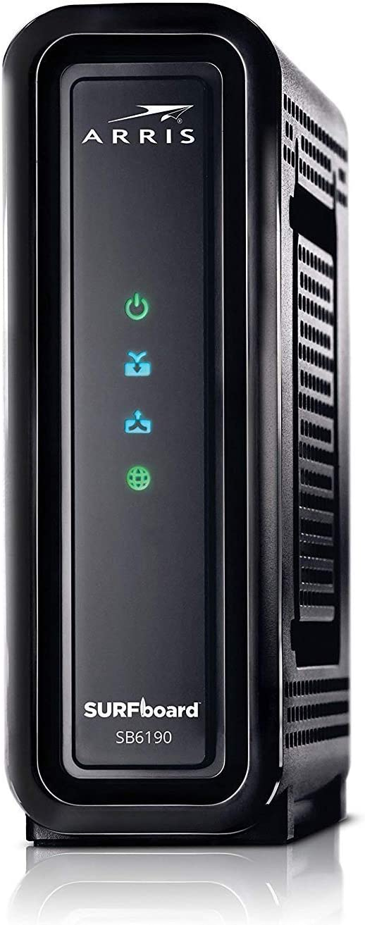 ARRlS Surfboard (32x8) DOCSIS 3.0 Cable Modem 1.4 Gbps Max Speed, Certified for Comcast Xfinity, Spectrum, Cox, Cablevision & More (SB6190 Black) - (Renewed)