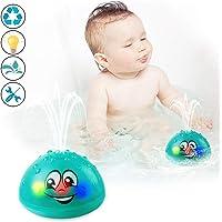 Bath Toys, Water Spray Toys for Kids Baby Bath Toys for Toddlers LED Light Up Bathtub Toys for Toddlers Sprinkler Bath Toy Baby Shines Bath Toy-Green
