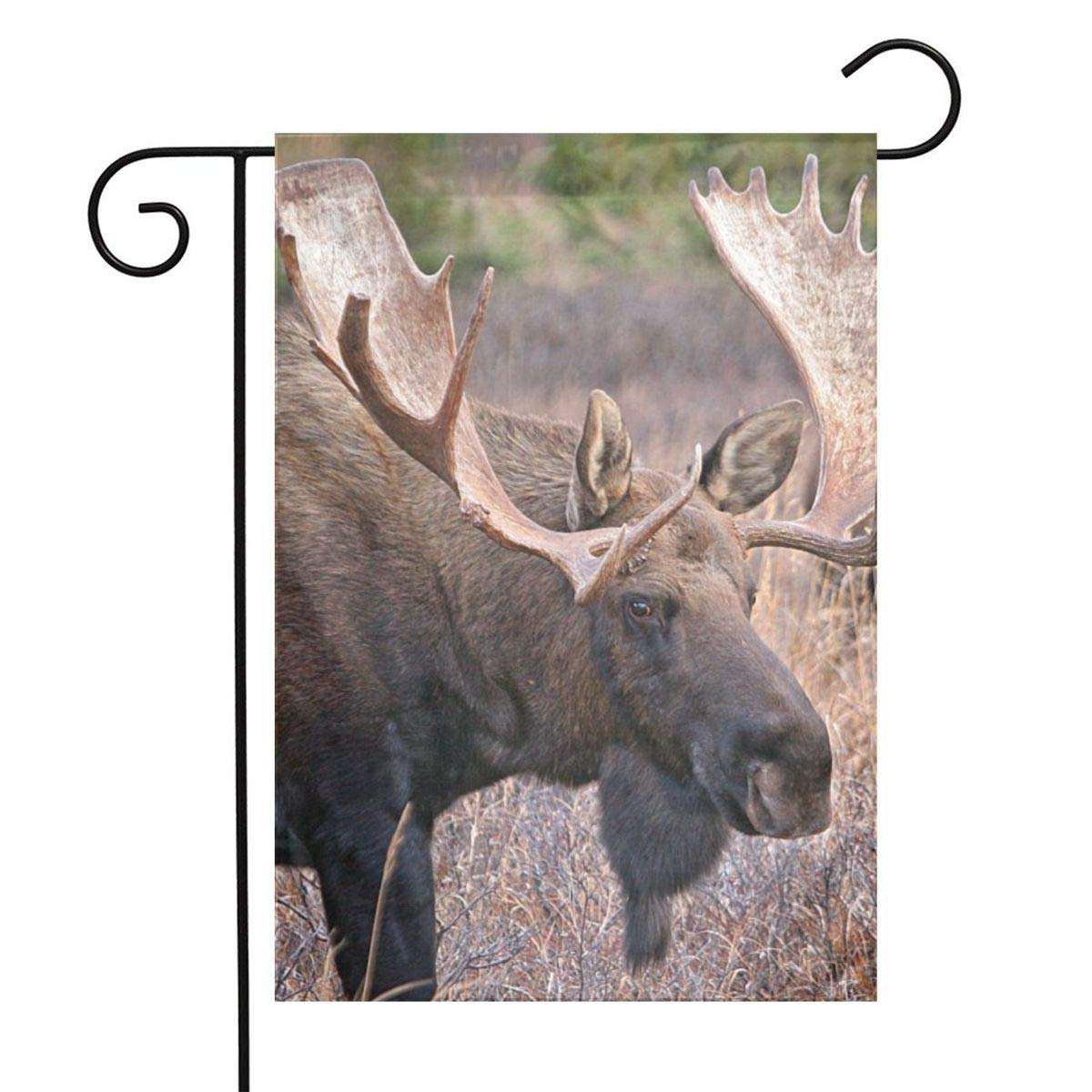 Moose Garden Flags House Indoor & Outdoor Holiday Decorations,Waterproof Polyester Yard Decorative for Game Family Party Banner