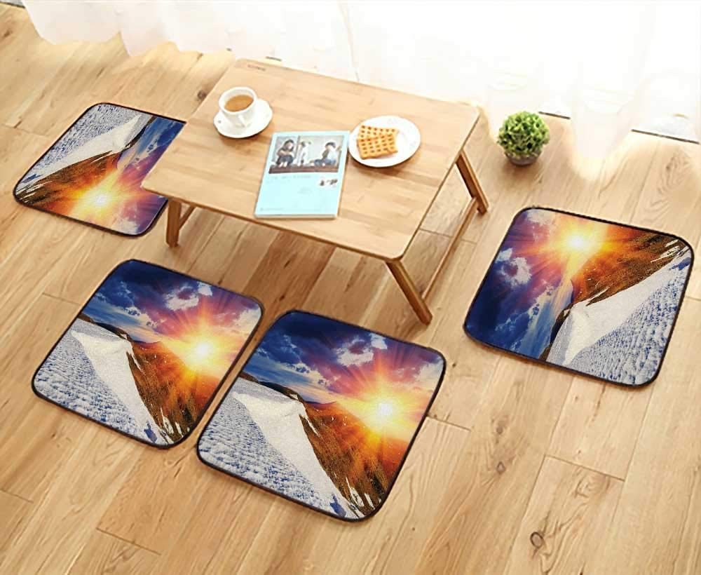 Leighhome Fillet Chair Cushion Sunshine Clouds Nature Mountain and Valley Sun Divider in College Landscape Home White Suitable for The Chair W13.5 x L13.5/4PCS Set