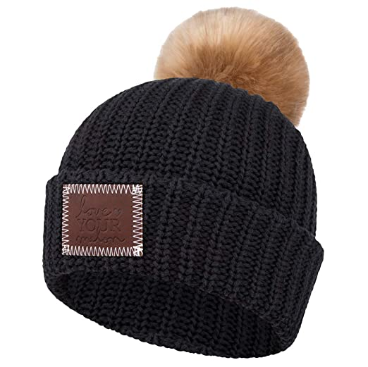 d10ef5ef5da Love Your Melon Cuffed Pom Beanie Black (Natural Pom) at Amazon ...