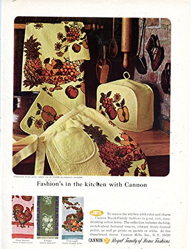 "Cannon Home Fashions Vintage Magazine Ad ""Fashion's In The Kitchen With Cannon"" from Cannon"