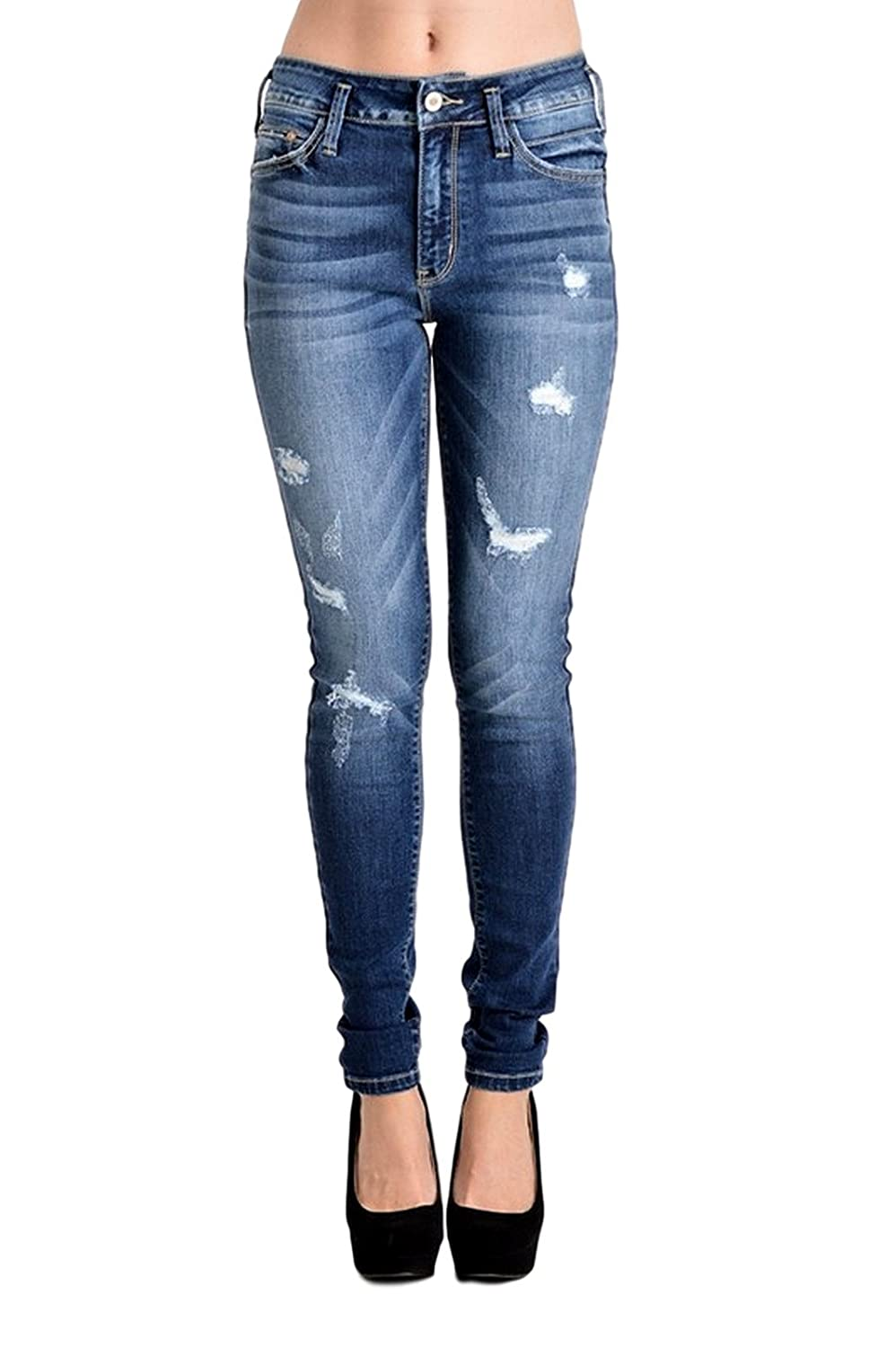 cheap Kan Can Women's High Rise Destroyed Skinny Jeans Dark Wash ...