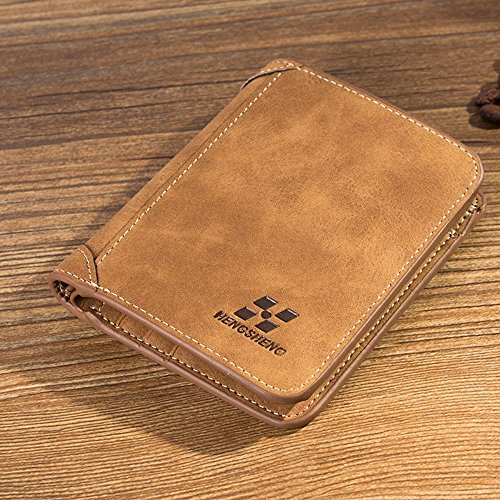 Men PU Leather ID credit Card holder Clutch Bifold Coin Purse Wallet Pockets (And Card Floor Decor Credit)