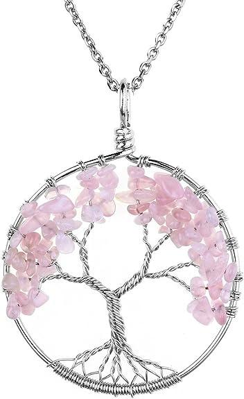 Handmade énorme PIERRE NATURELLE ROSE AGATE pierres précieuses Argent Colliers Pendentifs
