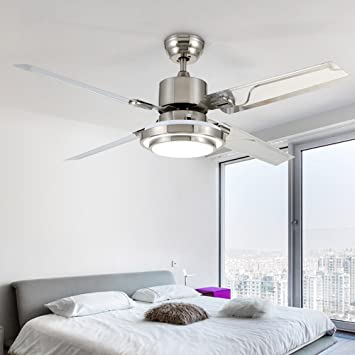 COLORLED Modern Simple Three Changing Color Stainless Steel Led Ceiling Fan 52 Inch Dining Room
