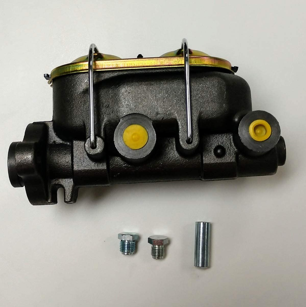 """Natural Cast Iron Master Cylinder 1 1//8/"""" Bore 3//8/"""" Ports Dual Bail Top"""