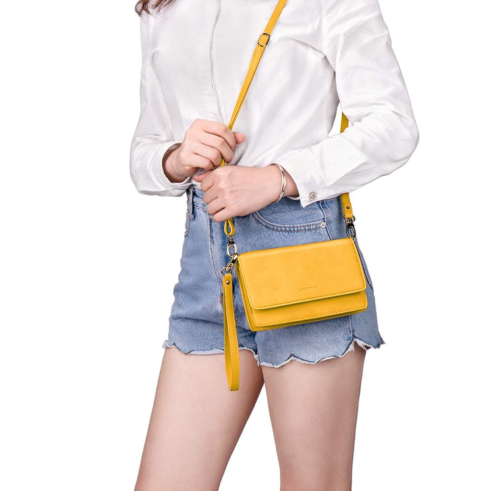 nuoku Women Small Crossbody Bag Cellphone Purse Wallet with RFID Card Slots 2 Strap Wristlet(Max 6.5'') … (Yellow) by nuoku (Image #2)