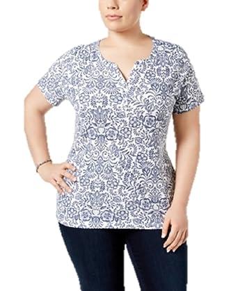 8177f720 Karen Scott Plus Size Printed Henley T-Shirt in Intrepid Blue at ...