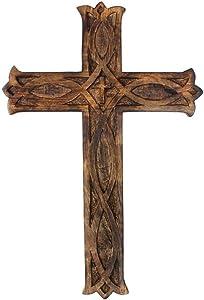 The StoreKing Wooden Wall Cross Plaque 12
