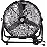 GHP 2-Speed Setting 110V 220W 3-Blade Design 24 Portable Floor Fan with Casters