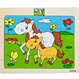 Vibgyor Vibes™ Wood Jigsaw Puzzles for small Children Kids. Pack of 6 Different Patterns with 20 Piece Puzzle in a Frame Board. (18X15Cm) (Random Pattern Will Be Sent)