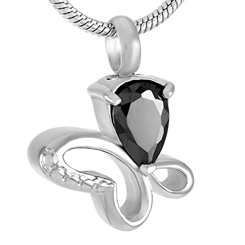 abba118dc5e Amazon.com: Little Butterfly Stainless Steel Keepsake Cremation Jewelry Urn  Necklace With Multi-colored Crystal (Black Stone): Jewelry